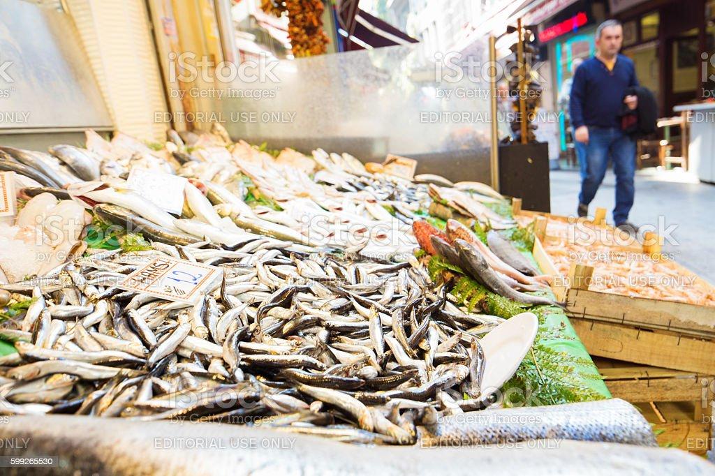 Fresh fish on display at Istanbul street market stock photo
