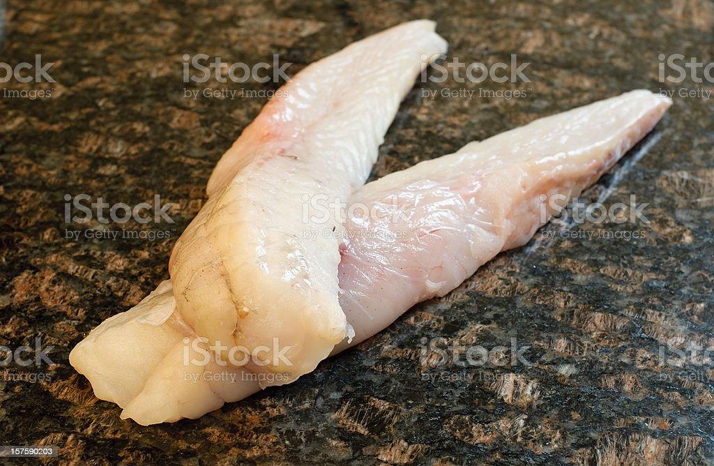 Fresh fish (monkfish fillets) stock photo
