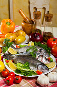 Fresh Fish Vegetables and Olive Oil