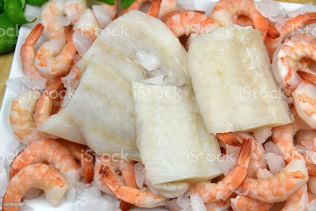 Fresh Fish With Shrimp royalty-free stock photo