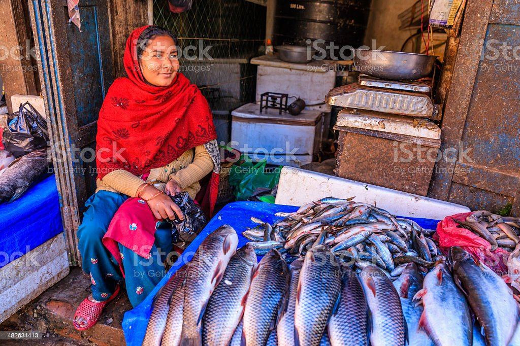 Fresh fishes for sale in Bhaktapur, near Durbar Square, Nepal royalty-free stock photo