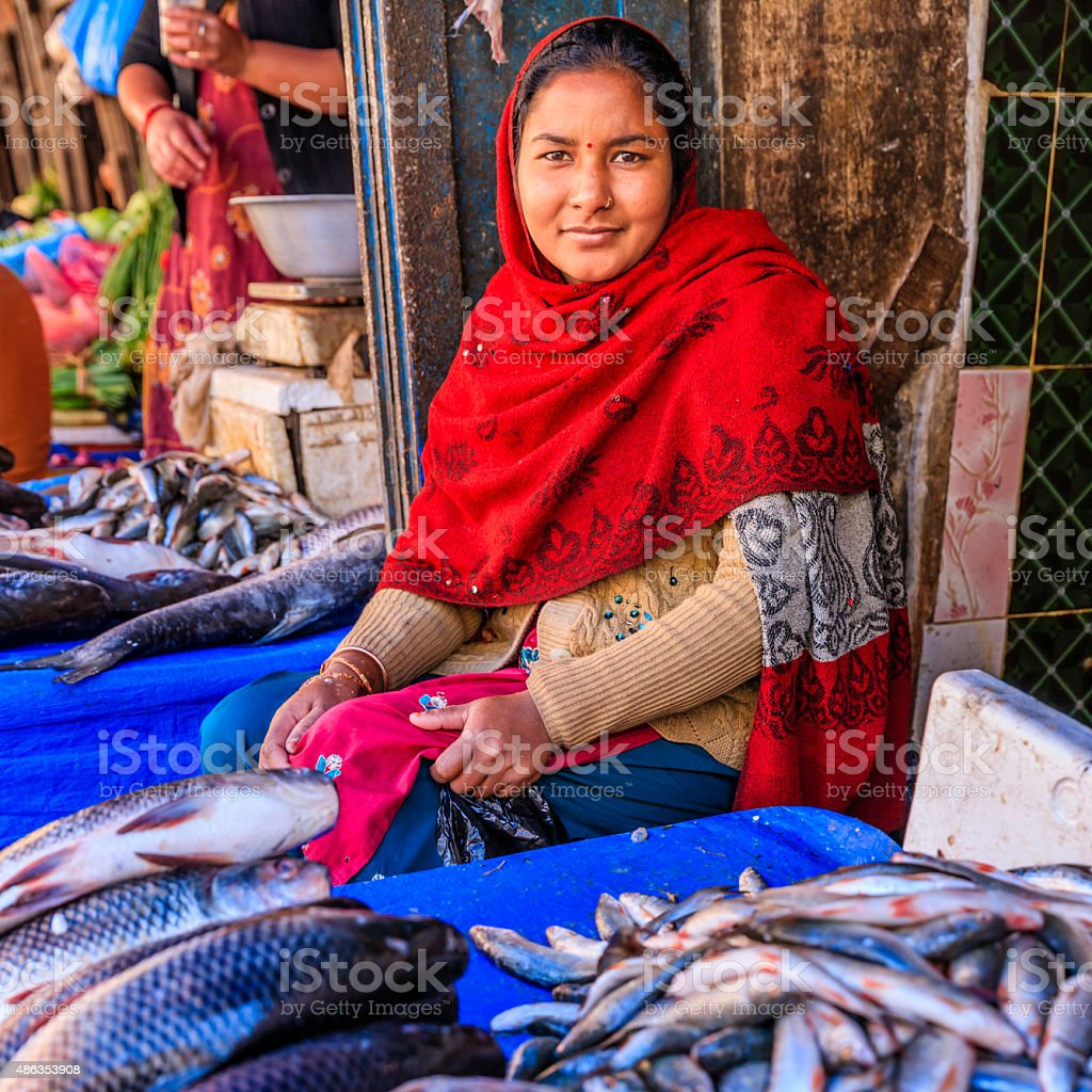 Fresh fishes for sale in Bhaktapur, near Durbar Square, Nepal stock photo