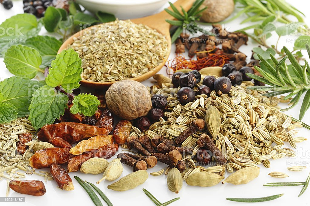 fresh flavoring herbs and spices royalty-free stock photo