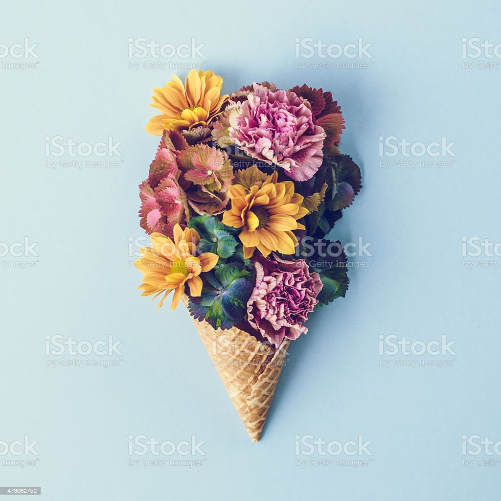Fresh flowers in ice cream cone still life stock photo