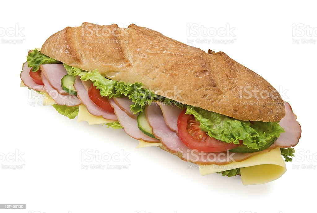 Fresh foot-long submarine sandwich with ham and cheese royalty-free stock photo