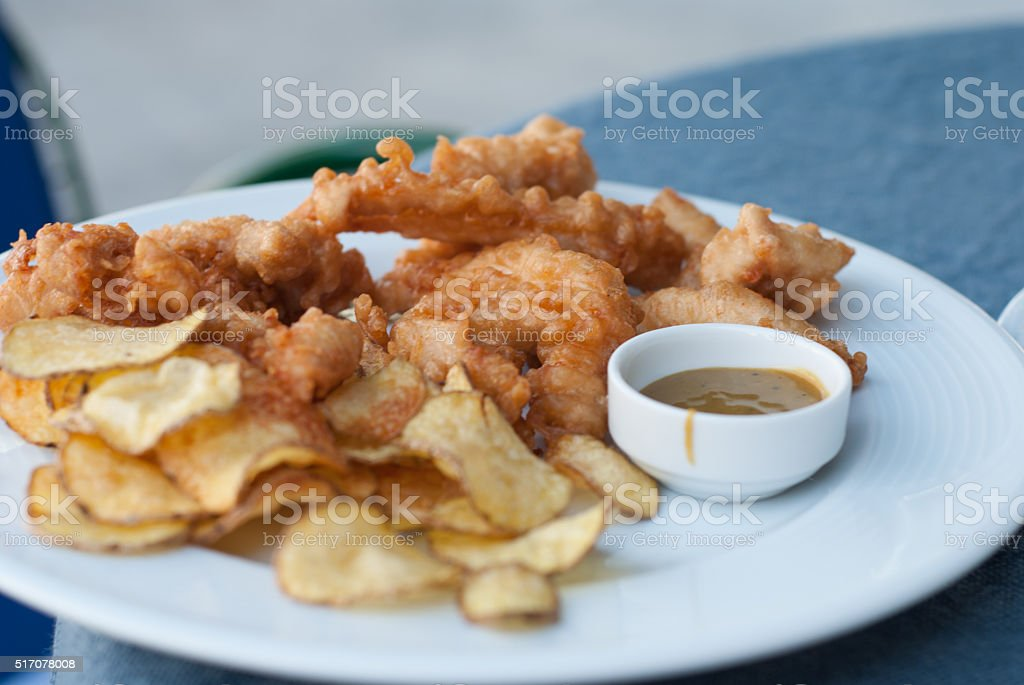 Fresh fried chicken fingers in a plate stock photo