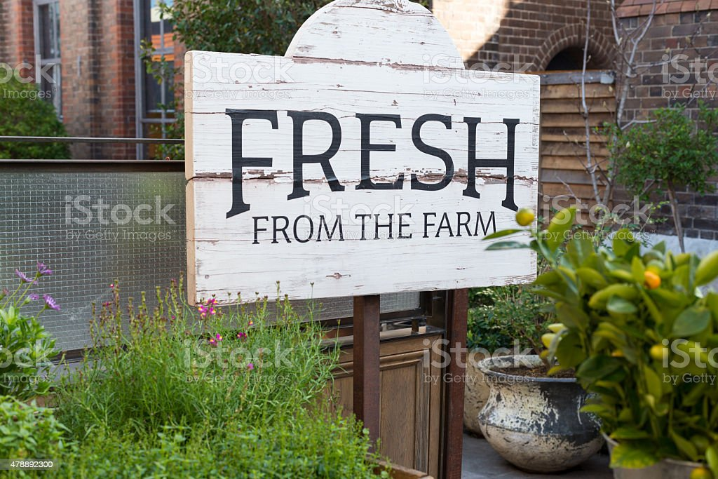 Fresh from the farm sign stock photo