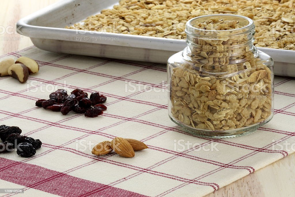 fresh from the oven healthy granola royalty-free stock photo