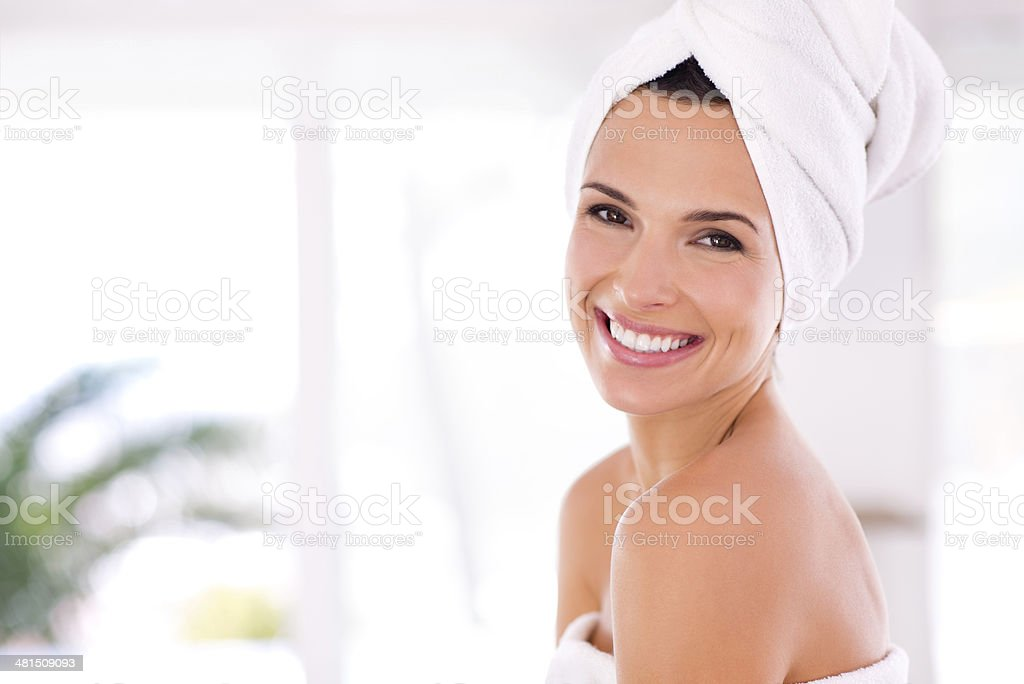 Fresh from the shower stock photo