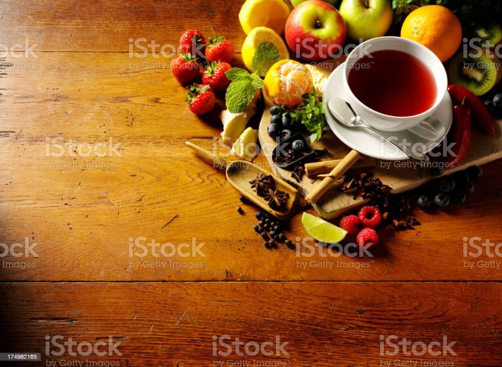 Fresh Fruit and a Cup of Herbal Tea royalty-free stock photo