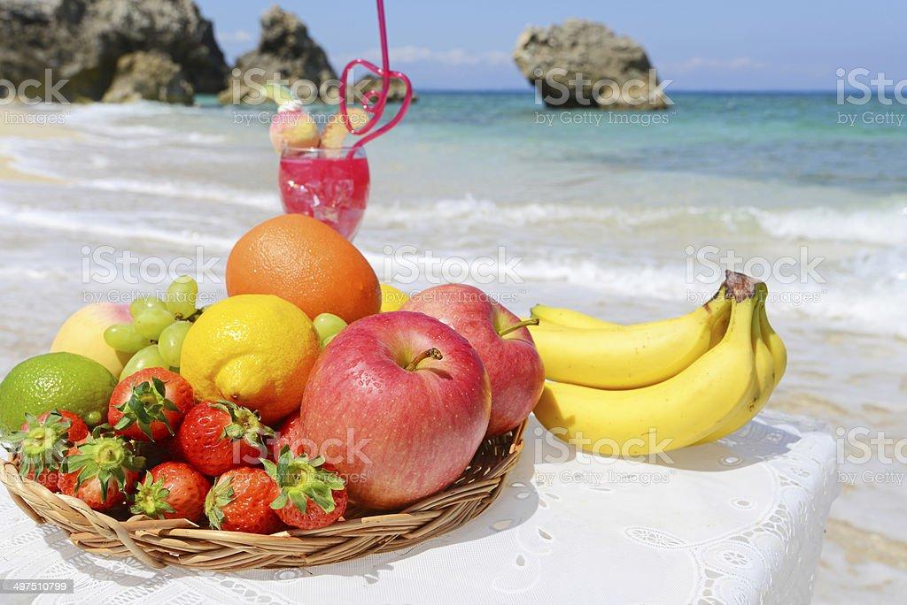 Fresh fruit and beautiful sea stock photo