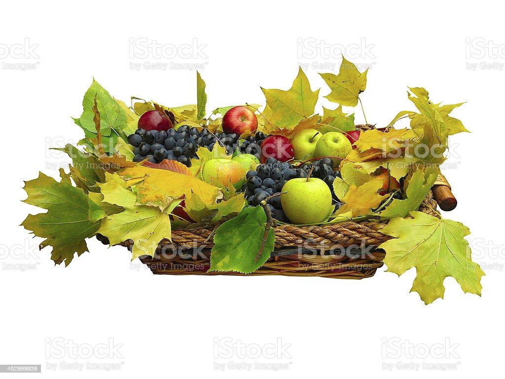 Frutas e folhas no cesto isolado no branco foto de stock royalty-free
