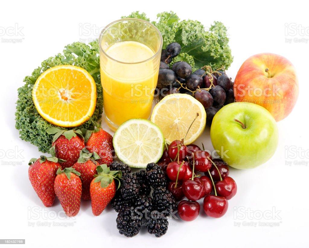 Fresh fruit and Orange Juice royalty-free stock photo
