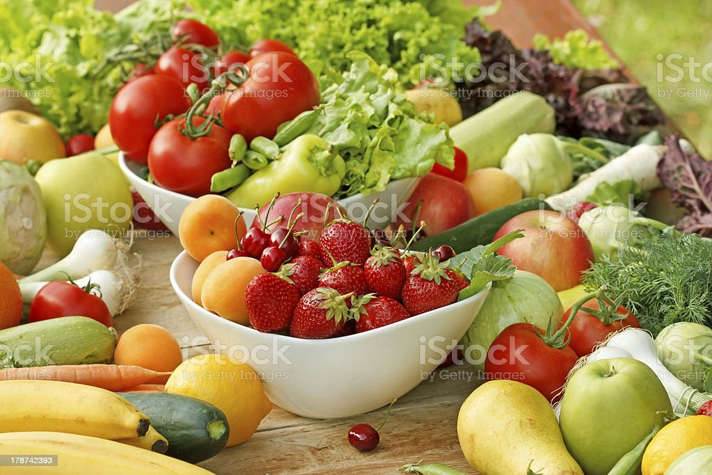 Fresh fruit and vegetable - raw food stock photo