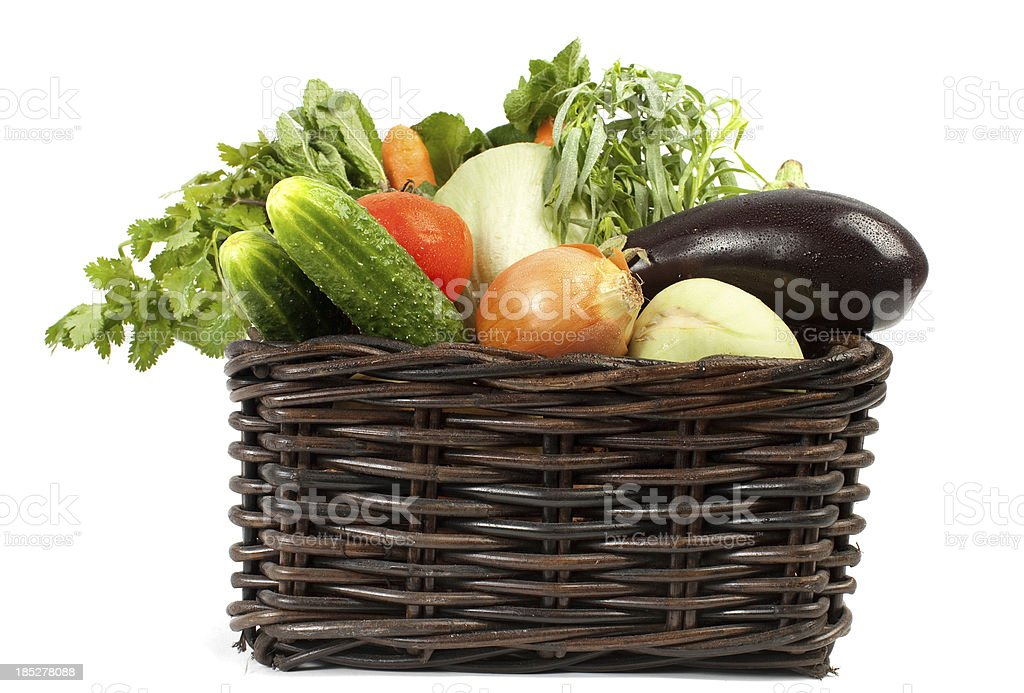 Fresh fruit and vegetables in a basket. royalty-free stock photo