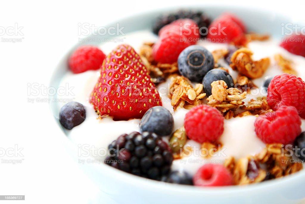 Fresh fruit and yogurt parfait stock photo