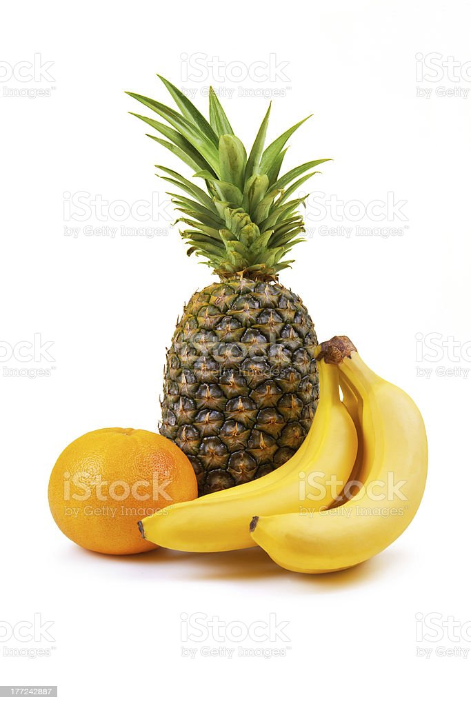 fresh fruit - banana, grapefruit, pineapple stock photo