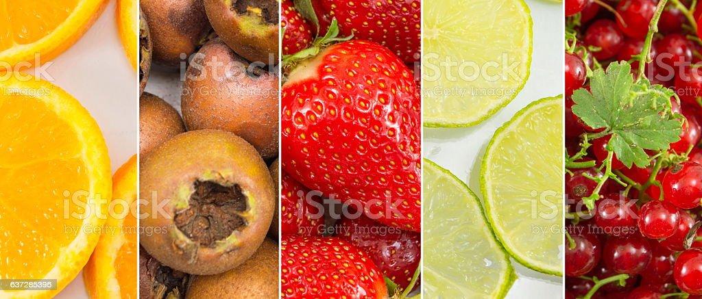 Fresh fruit collage background. stock photo