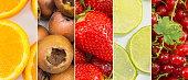 Fresh fruit collage background.