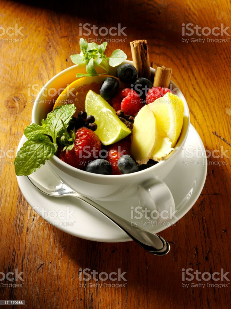 Fresh Fruit in a Tea Cup royalty-free stock photo