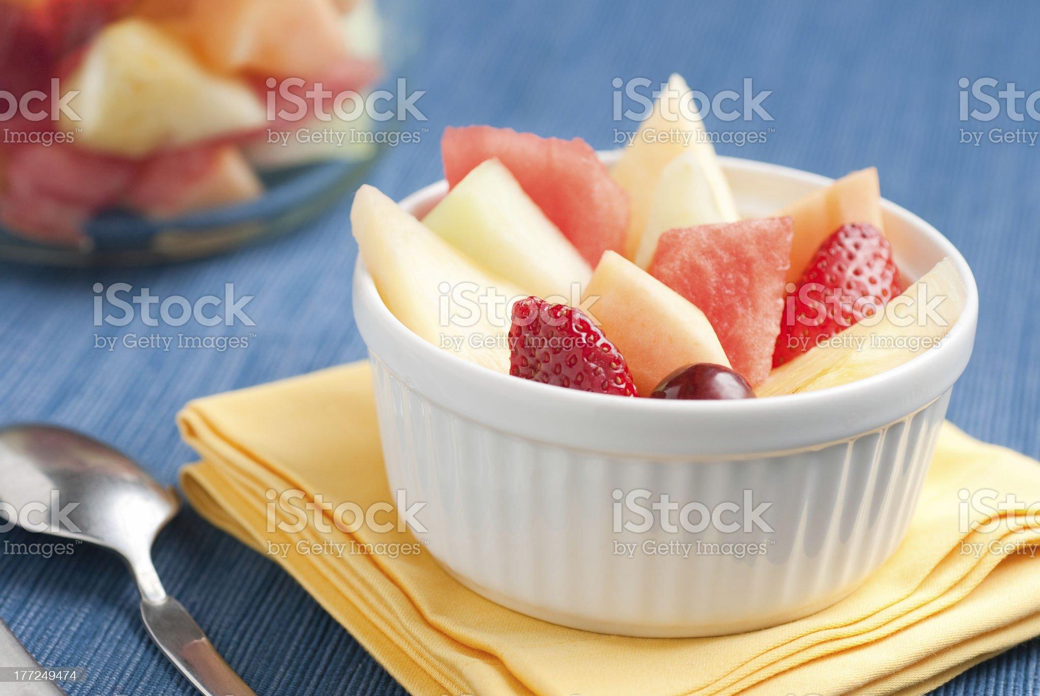 Fresh Fruit in a White Bowl royalty-free stock photo