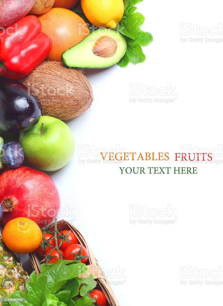 fresh fruit isolated white background stock photo