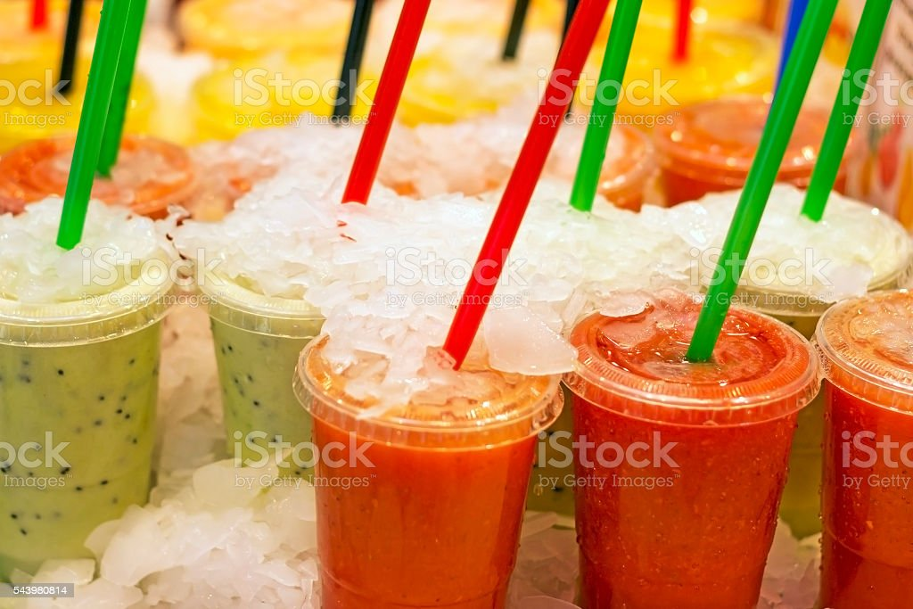 Fresh fruit juices stock photo