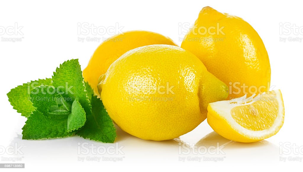 Fresh fruit lemons in section with leaf stock photo