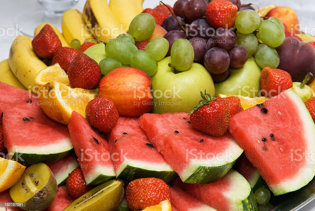 Fresh fruit on a plate stock photo