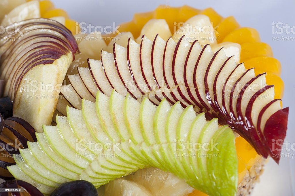 Fresh fruit on a sponge cake royalty-free stock photo