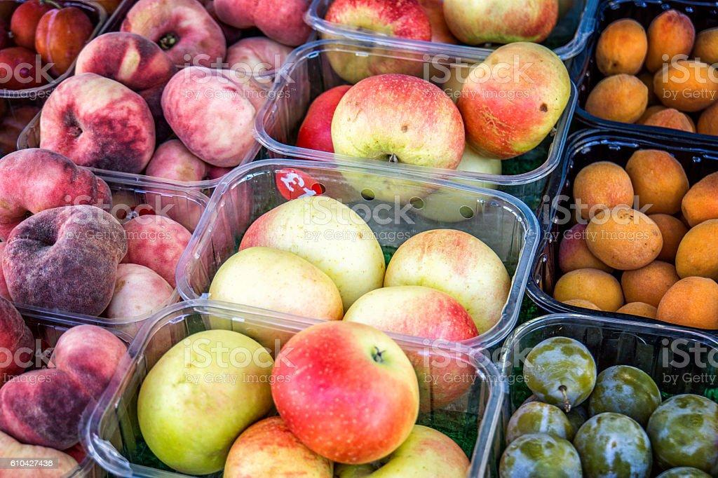 Fresh fruit on sale in street market stall stock photo