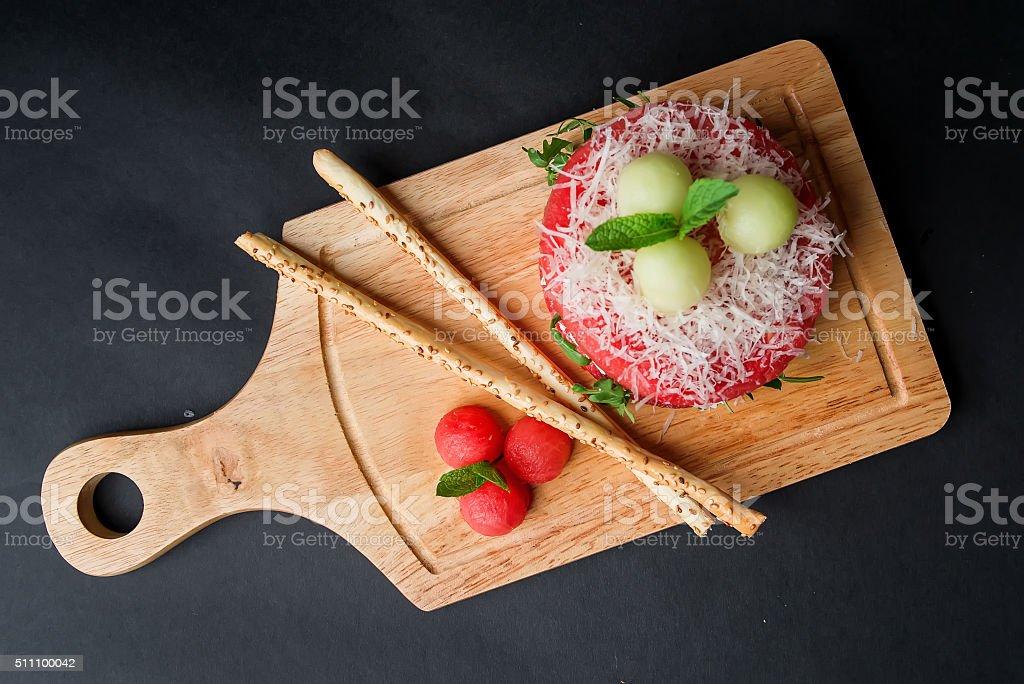 Fresh Fruit Platter with Watermelon on Black Background stock photo