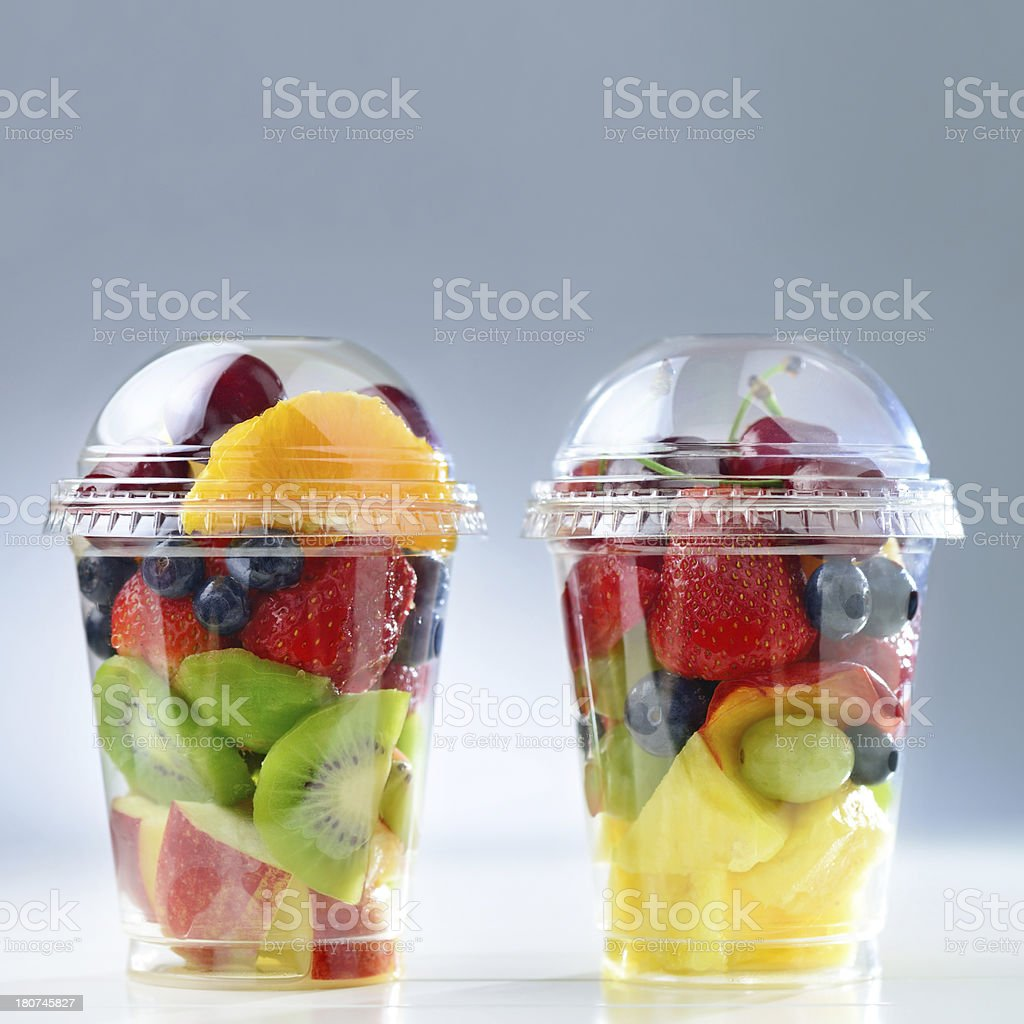Fresh fruit salad to go with copy space stock photo