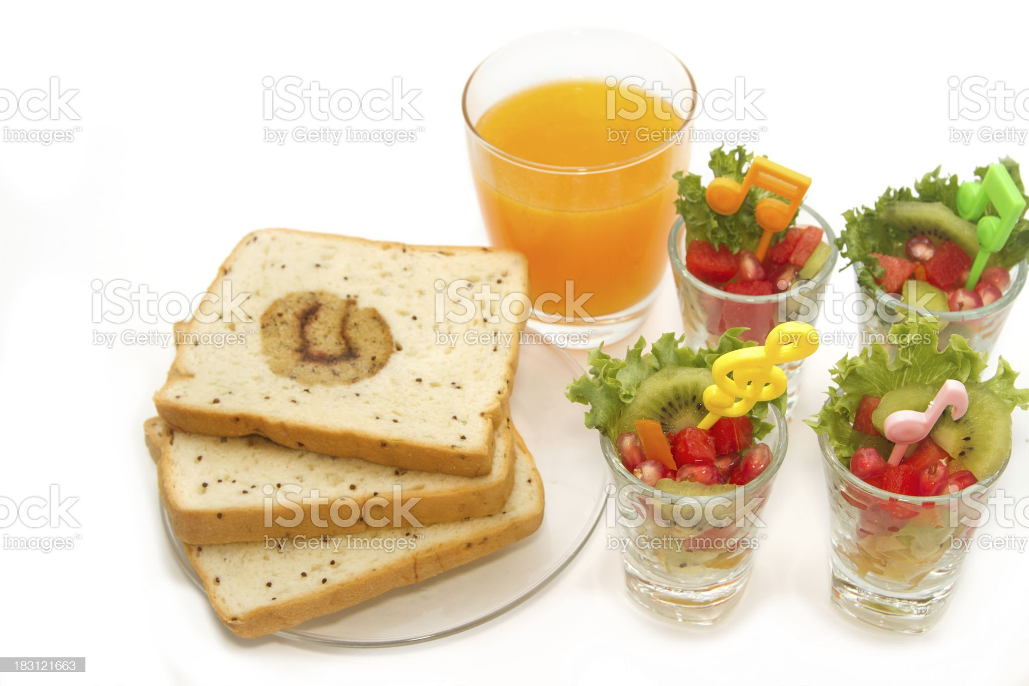 Fresh fruit salad with orange juice, fusion food for diet royalty-free stock photo