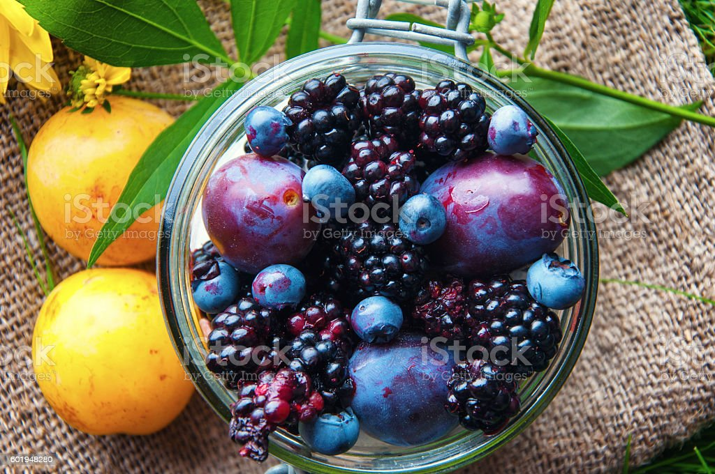 Fresh fruit sealed in a jar. Grass background stock photo