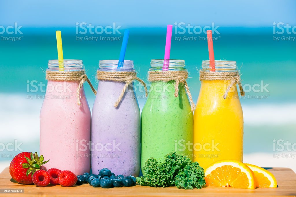 Fresh fruit smoothies stock photo