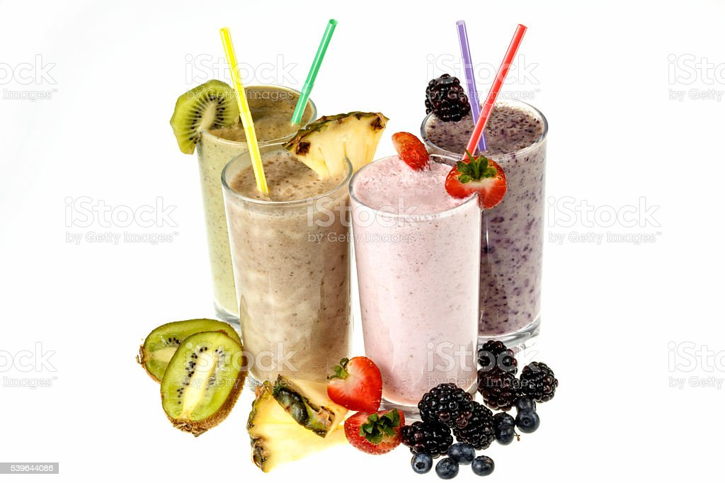 Fresh fruit smoothies with  fruit stock photo