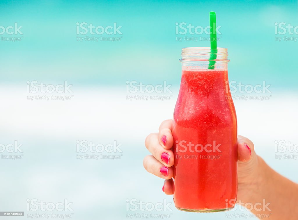 Fresh fruit strawberry/watermelon smoothie stock photo