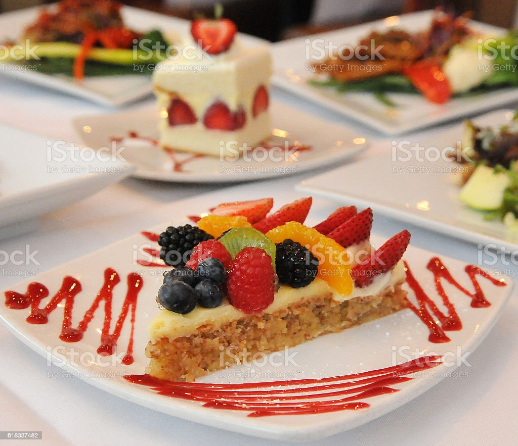 Fresh Fruit Tart Combo Beginning stock photo