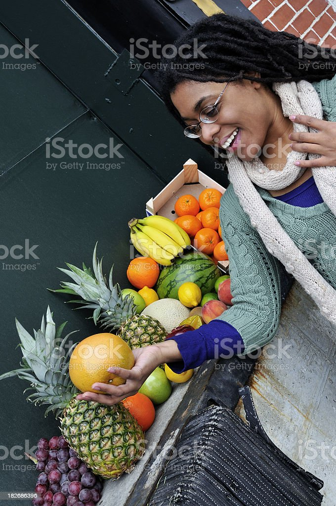 Fresh Fruit Transported in Winter stock photo