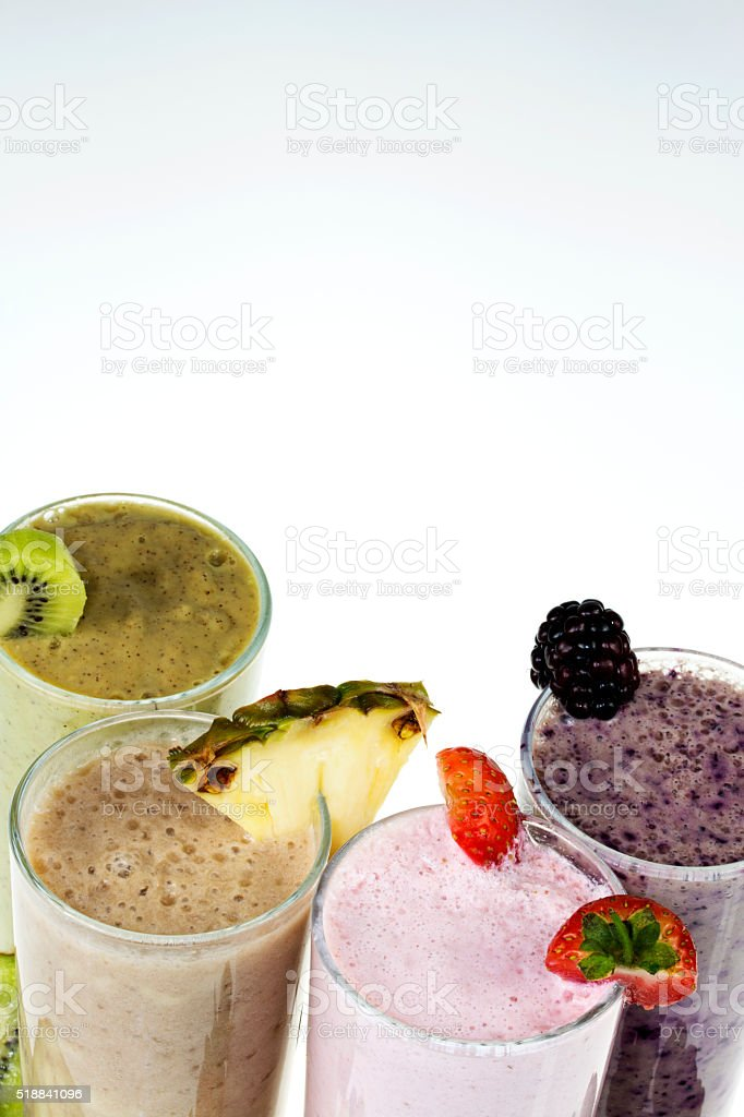 Fresh fruit with smoothies stock photo