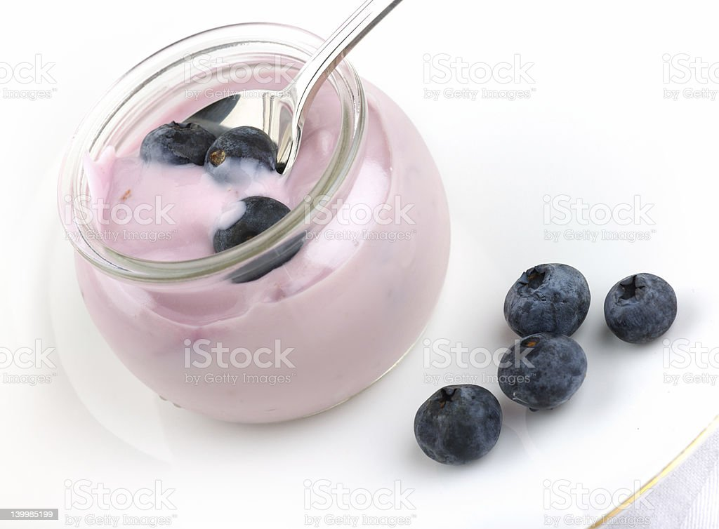 Fresh fruit yogurt with blueberries royalty-free stock photo