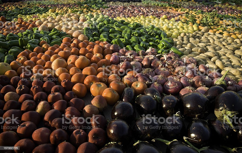 Fresh Fruits and Raw Vegetables royalty-free stock photo