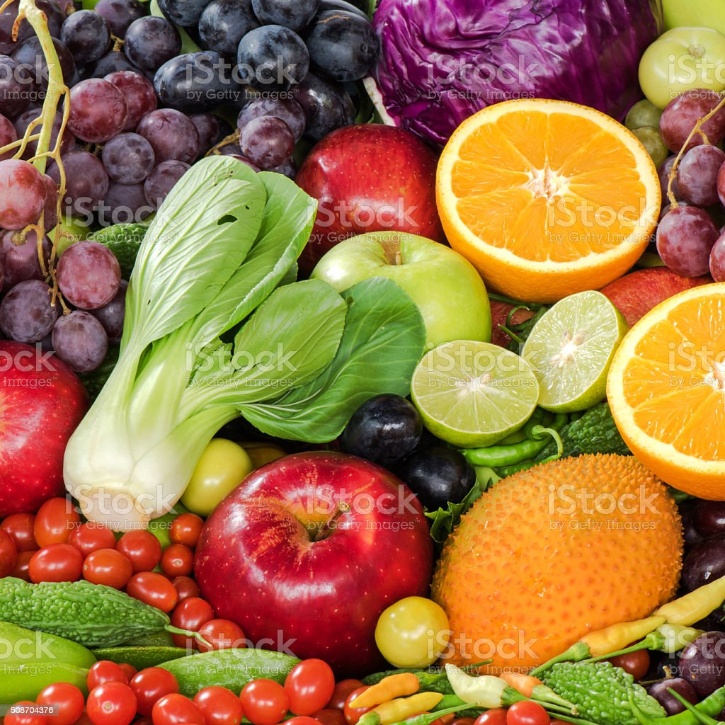 Fresh fruits and vegetables foe heathy stock photo