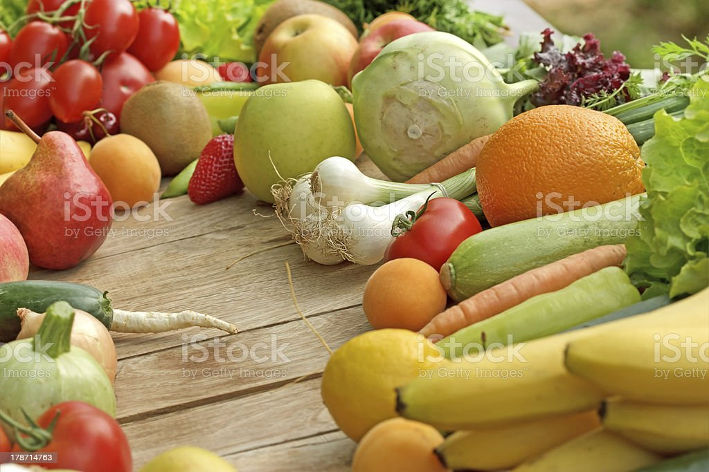 Fresh fruits and vegetables - organic food royalty-free stock photo