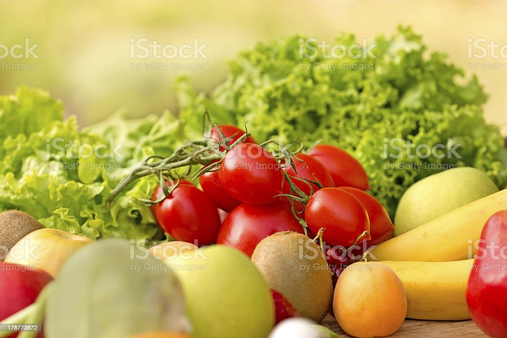 Fresh fruits and vegetables (organic food) royalty-free stock photo