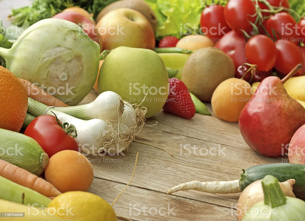 Fresh fruits and vegetables - vegan food royalty-free stock photo