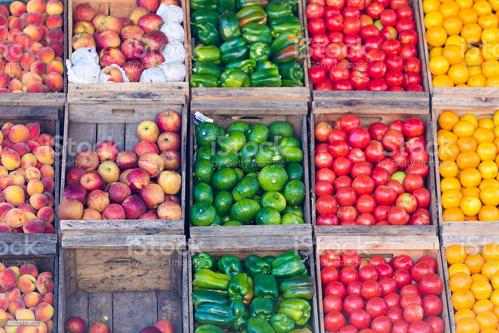 Fresh fruits at a market stall stock photo