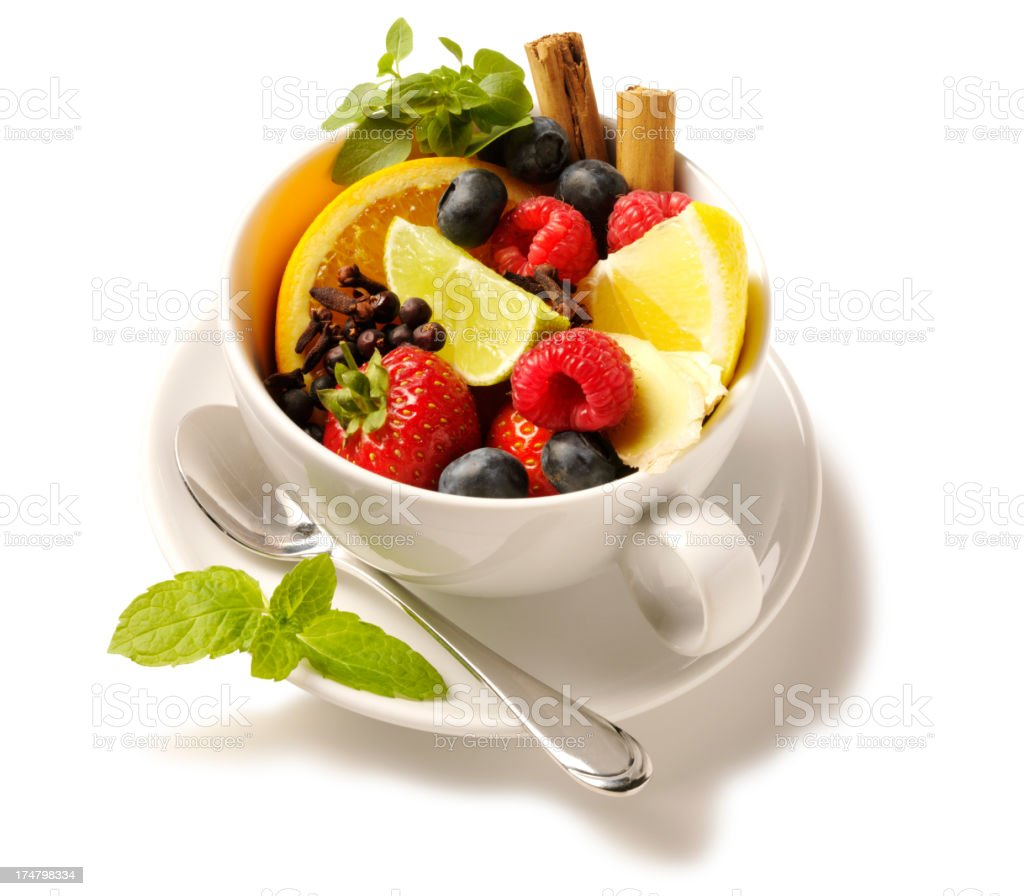 Fresh Fruits in a Tea Cup royalty-free stock photo