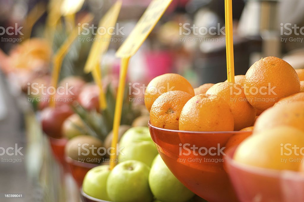 Fresh fruits in an open air market. royalty-free stock photo